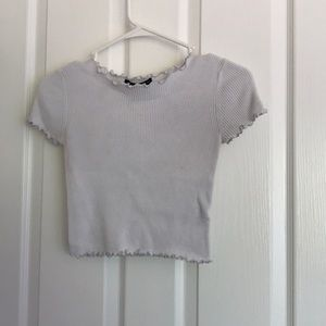 white crop top with ruffle